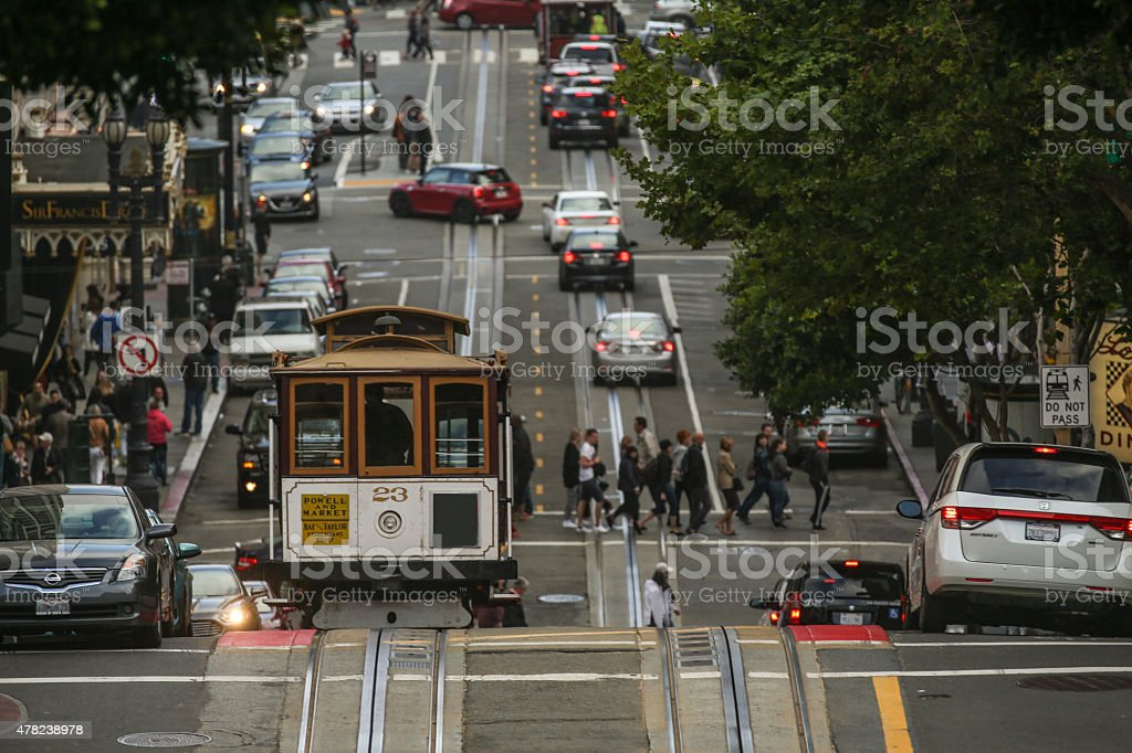 San Francisco cable car at Powell Street stock photo