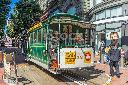 San Francisco,California, USA - April 20, 2018 : San Francisco cable car prepare to operate at Powell Street station on April 20, 2018 in San Francisco,California.