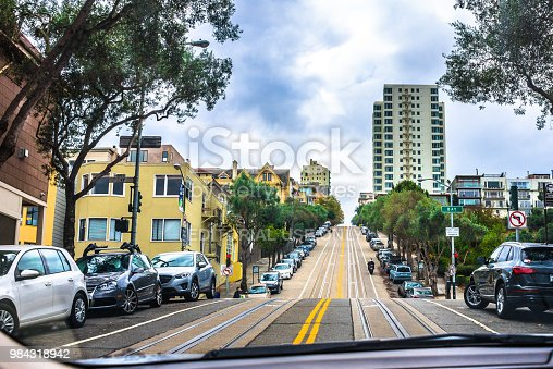 San Francisco, USA - November 4, 2017:  View of downtown San Francisco street with tracks on the pavement. Invented in San Francisco near 150 years ago, cable cars have no engine or motor on themselves. They are pulled along by cables running beneath the street.