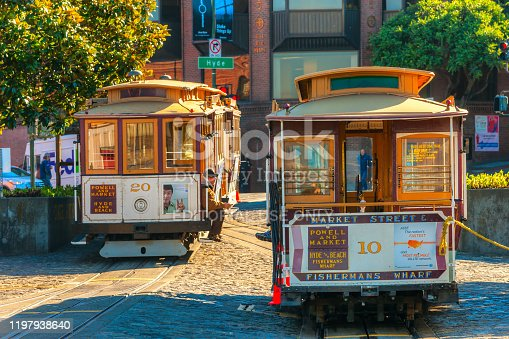 San Francisco, United states of america - december 16: Passengers enjoy a ride in a cable car on Dec 16, 2013 in San Francisco. It is the oldest mechanical public transport in San Francisco which is in service since 1873.