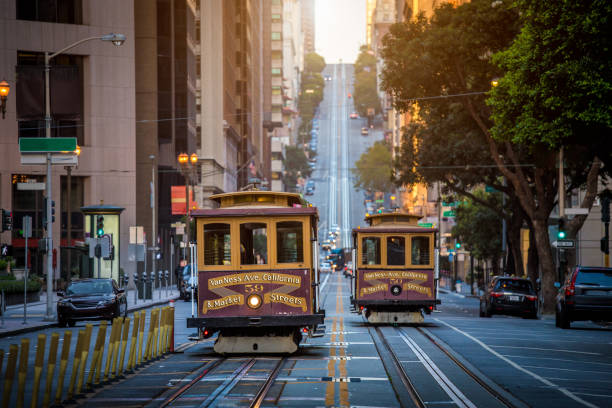 san francisco cable cars on california street at sunrise, california, usa - são francisco califórnia imagens e fotografias de stock