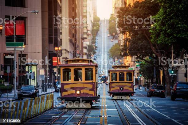 San Francisco Cable Cars On California Street At Sunrise California Usa Stock Photo - Download Image Now