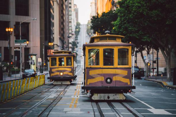 San Francisco Cable Cars on California Street, California, USA – Foto