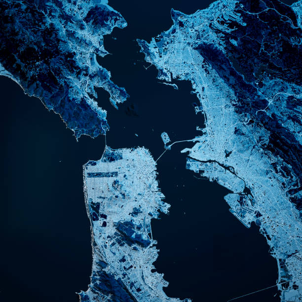San Francisco California 3D Render Blue Top View Apr 2019 3D Render of a Topographic Map of the San Francisco Bay area, California, USA. All source data is in the public domain. Contains modified Copernicus Sentinel data (Apr 2019) courtesy of ESA. URL of source image: https://scihub.copernicus.eu/dhus/#/home. Relief texture SRTM data courtesy of NASA. URL of source image: https://search.earthdata.nasa.gov/search/granules/collection-details?p=C1000000240-LPDAAC_ECS&q=srtm%201%20arc&ok=srtm%201%20arc alameda california stock pictures, royalty-free photos & images