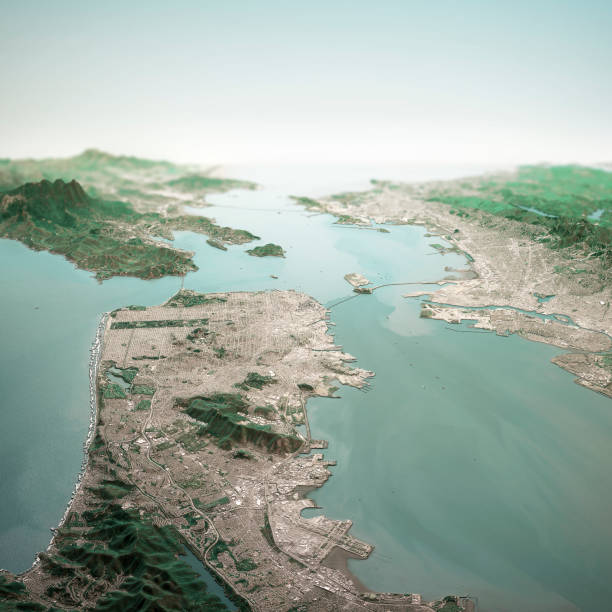 San Francisco California 3D Render Horizon Aerial View From South Apr 2019 3D Render of a Topographic Map of the San Francisco Bay area, California, USA. All source data is in the public domain. Contains modified Copernicus Sentinel data (Apr 2019) courtesy of ESA. URL of source image: https://scihub.copernicus.eu/dhus/#/home. Relief texture SRTM data courtesy of NASA. URL of source image: https://search.earthdata.nasa.gov/search/granules/collection-details?p=C1000000240-LPDAAC_ECS&q=srtm%201%20arc&ok=srtm%201%20arc alameda california stock pictures, royalty-free photos & images
