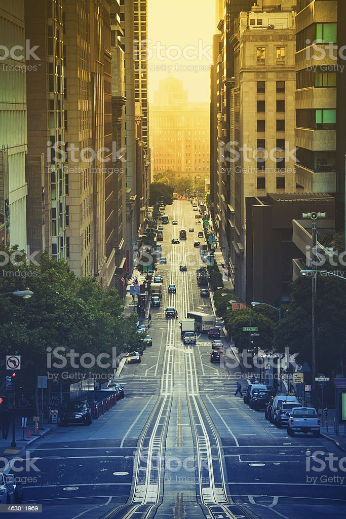 San Francisco, California Street at Early Morning stock photo