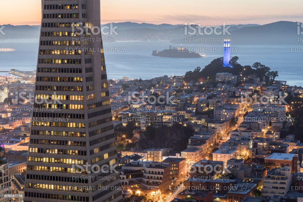 San Francisco, California, USA - April 29th, 2017: San Francisco Views from Loews Regency Hotel stock photo