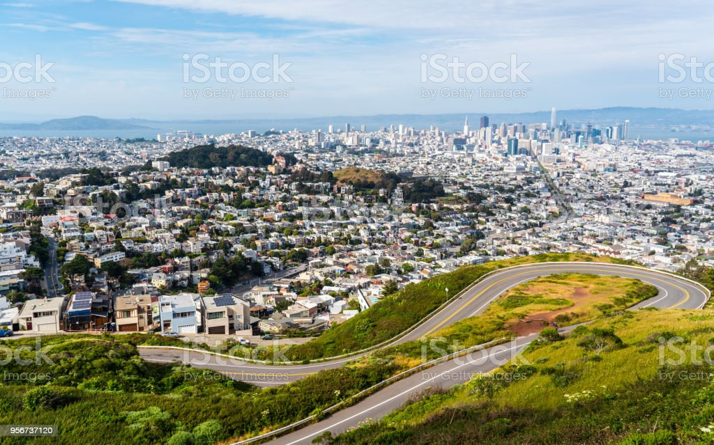 San Francisco , California , USA wide view from Twin Peaks at Christmas Point Sunny afternoon in San Francisco , California , USA wide view from Twin Peaks at Christmas Point during may sunshine day Aerial View Stock Photo