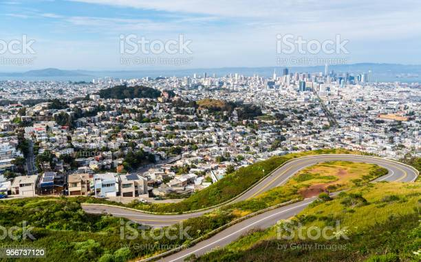 San Francisco California Usa Wide View From Twin Peaks At Christmas Point Stock Photo - Download Image Now