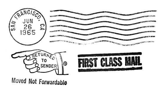 Vintage Postmark for  for San Francisco, California, dated June 26, 1965. Smack in the middle of the hippie, flower power, sexual revolution. Includes extra long parallel line postmark, Return to Sender stamp,  and First Class Mail stamp. Use together or separately. Authentic ink postal stamp postmark.  See other vintage postmarks in my portfolio, including  NYC, Baltimore, Detroit, Pittsburgh, Chicago, and Miami Beach: