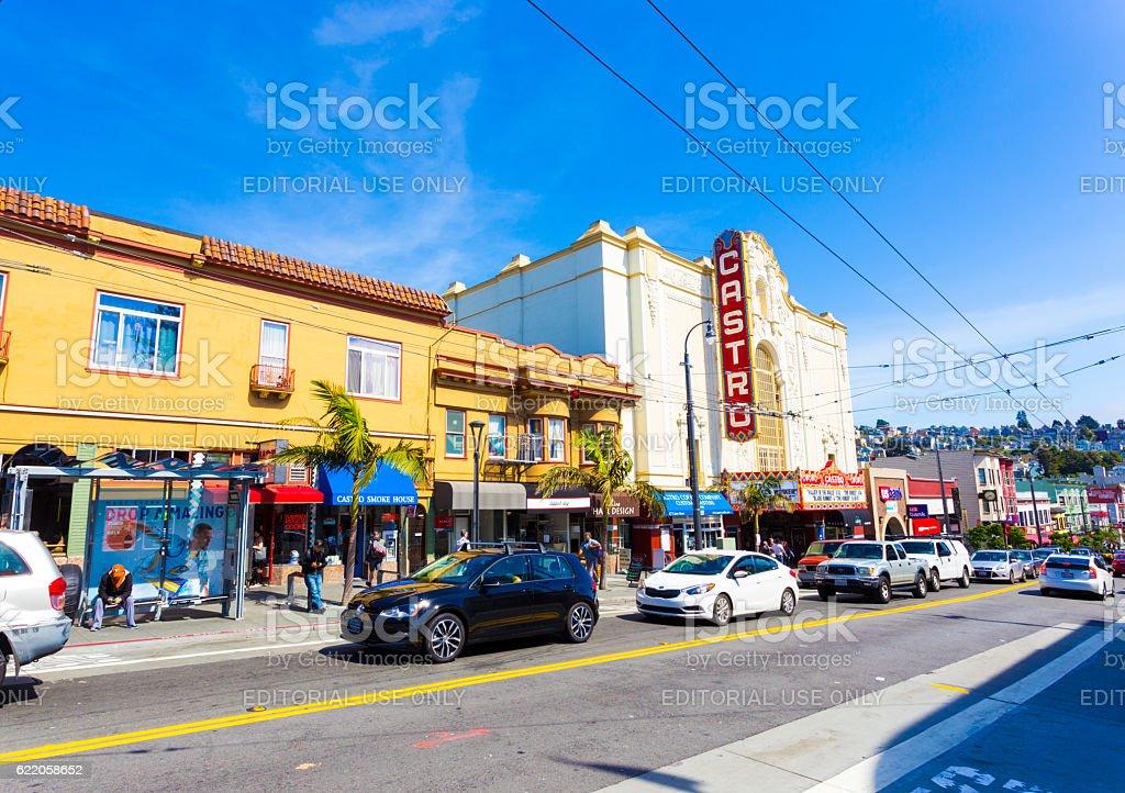 San Francisco Castro Street Shops Theater stock photo