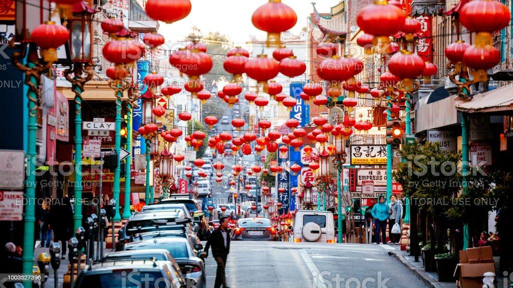 San Francisco Chinatown San Francisco, California, USA - May 18, 2018: People walking the colorful streets of Chinatown district. San Francisco - California Stock Photo