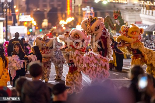 San Francisco, California, USA - February 20, 2016: Chinese people parading at Chinese New Year parade in the streets of San Francisco.
