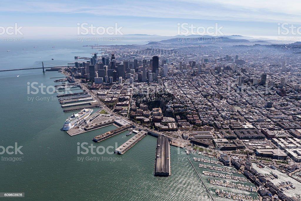San Francisco City and Bay Aerial stock photo