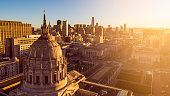 High quality stock photo of San Francisco City Hall at dawn on crisp clear day in the Bay Area.