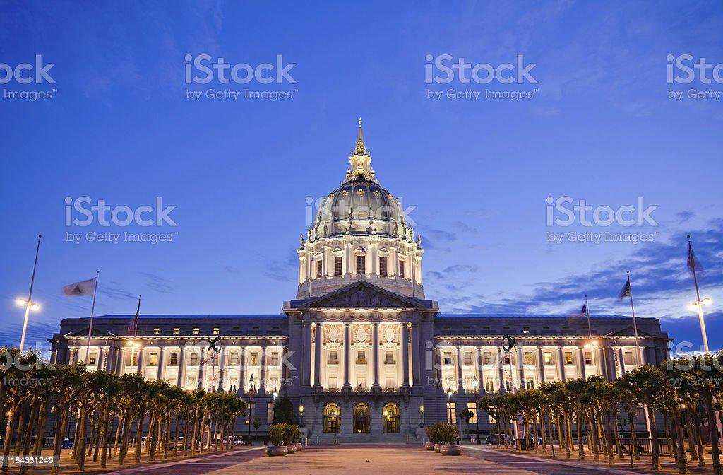 San Francisco city hall at night royalty-free stock photo