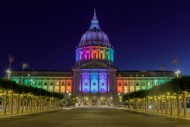 San Francisco City Hall illuminated in rainbow colors stock photo