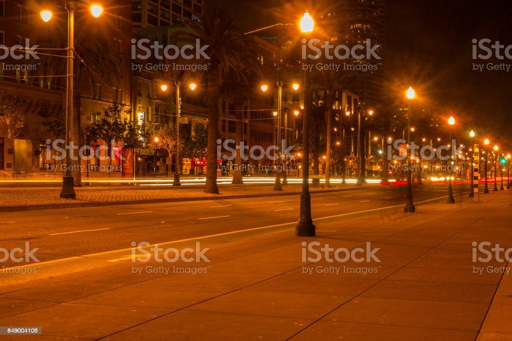 San Francisco City lights with large amounts of fog stock photo