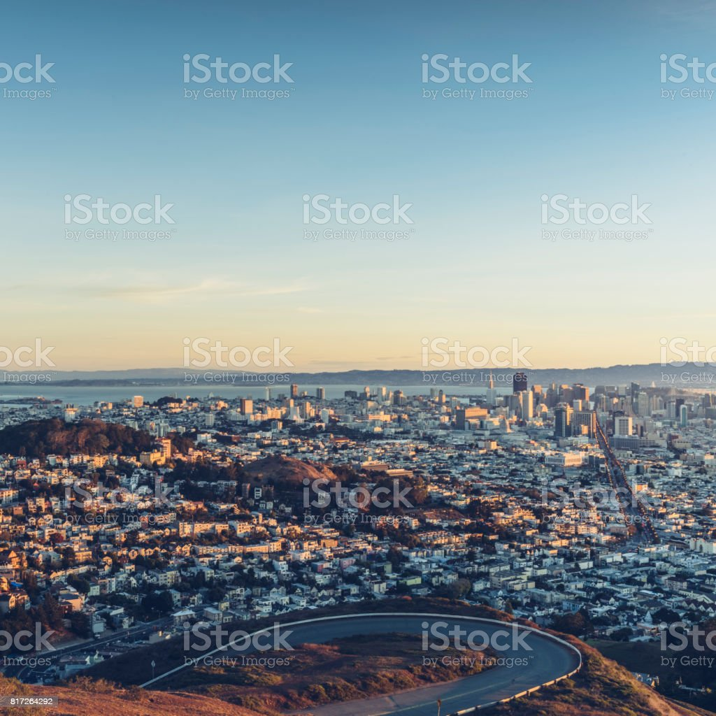 San Francisco city skyline from Twin Peaks at dusk stock photo