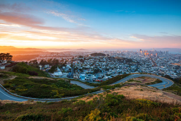 San Francisco City Skyline from Twin Peaks, California, USA