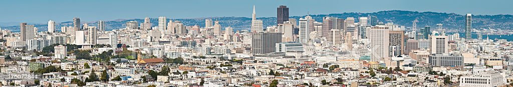San Francisco city skyline homes and skyscrapers panorama California stock photo