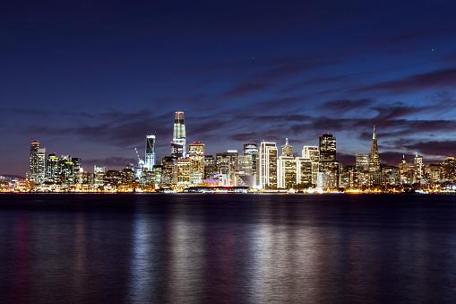 San Francisco city skyline illuminated at night