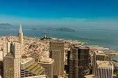 High quality large panoramic of the San Francisco City skyline from Treasure Island to the Presidio.