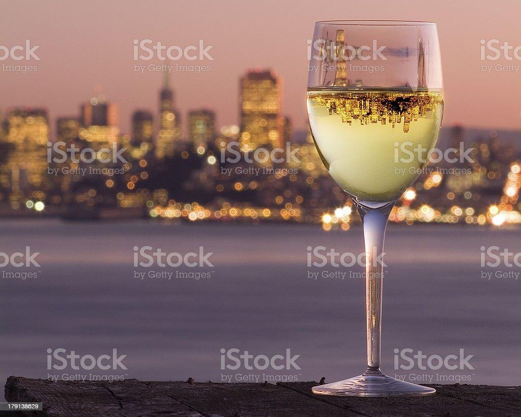San Francisco City Skyline Reflection Wine Glass Chardonnay Angel Island. royalty-free stock photo