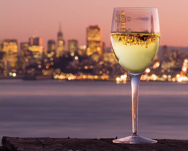 San Francisco City Skyline Reflection Wine Glass Chardonnay Angel Island. stock photo