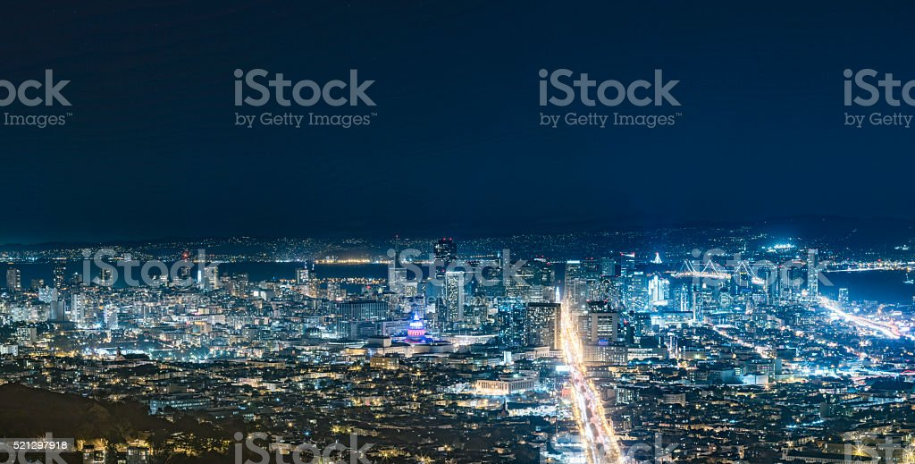 San Francisco cityscape at night stock photo