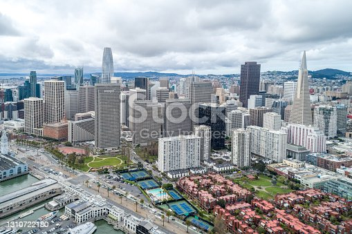 San Francisco cityscape. Business Distric with Skyscraper in background.  Financial District,