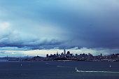 San Francisco city and San Francisco bay with Golden gate bridge