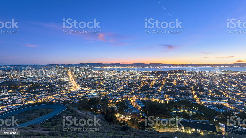 San Francisco cityscape in sunrse stock photo
