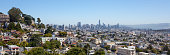 San Francisco cityscape seen from Diamond Heights and overlooking Noe Valley and downtown buildings.
