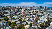 San Francisco Cityscape aerial drone views above endless Houses and Skyscrapers on a nice sunny summer day