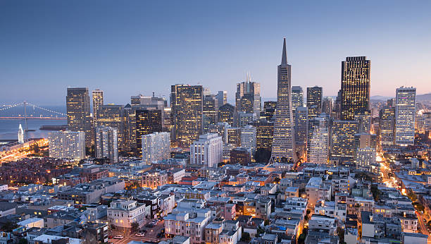 San Francisco Downtown, aerial view, Dusk. stock photo