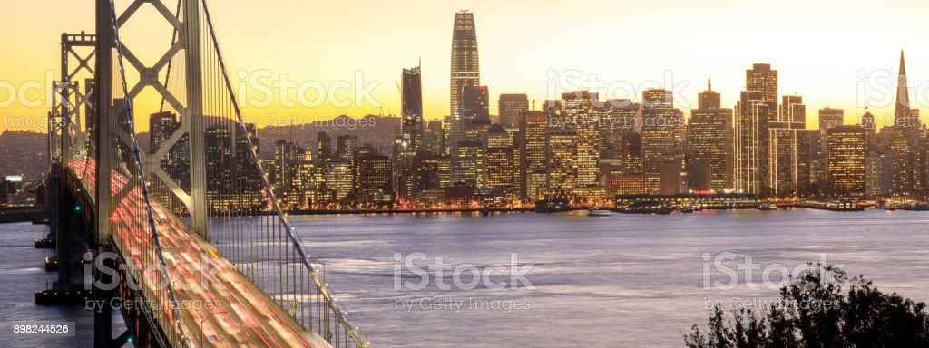 San Francisco Downtown and Bay Bridge in the golden hours stock photo