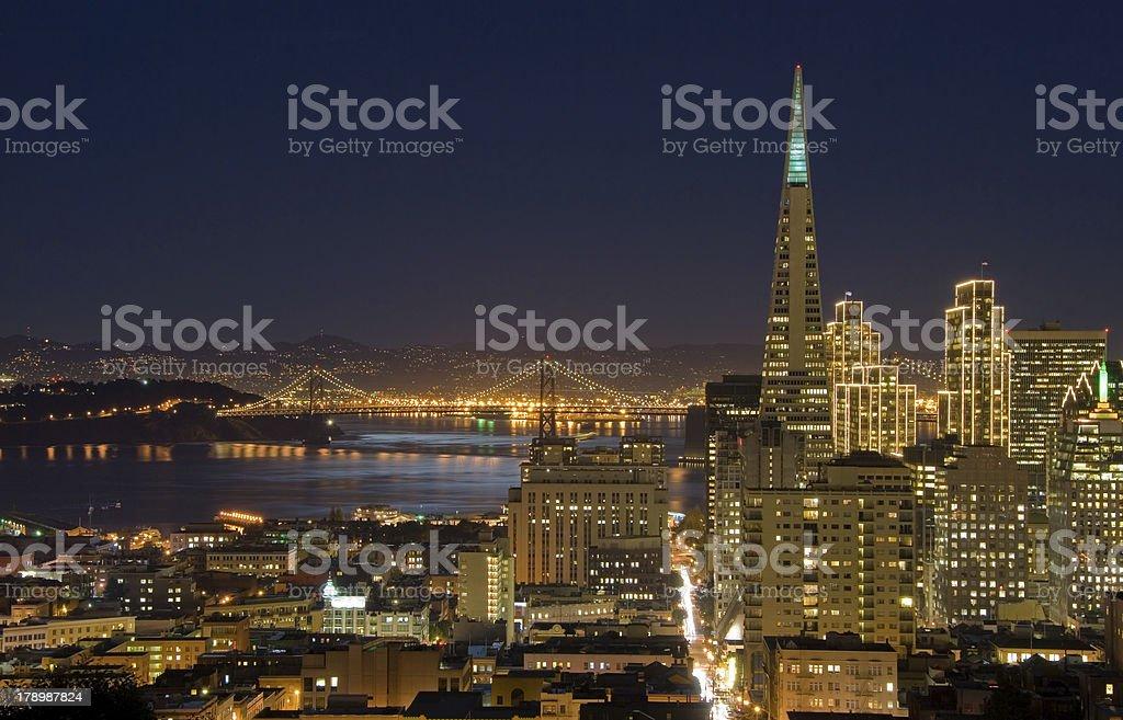 San Francisco downtown and Bay Bridge under Moonlight stock photo