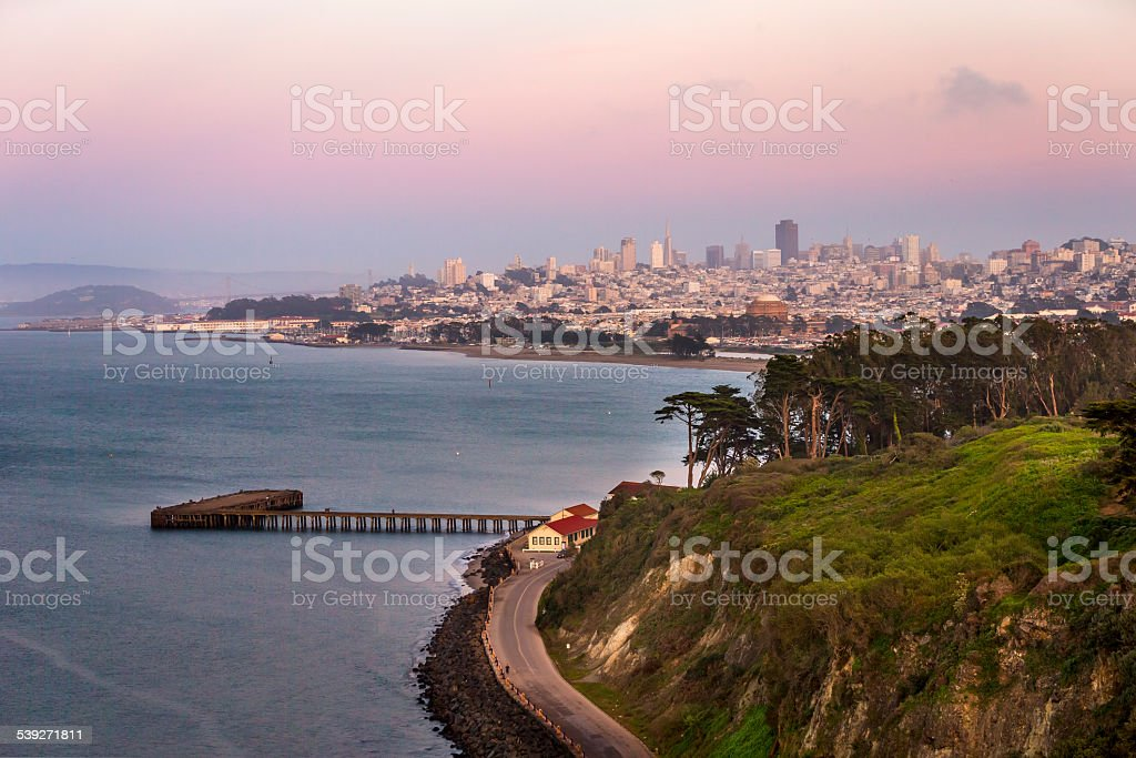 San Francisco downtown at sunset stock photo