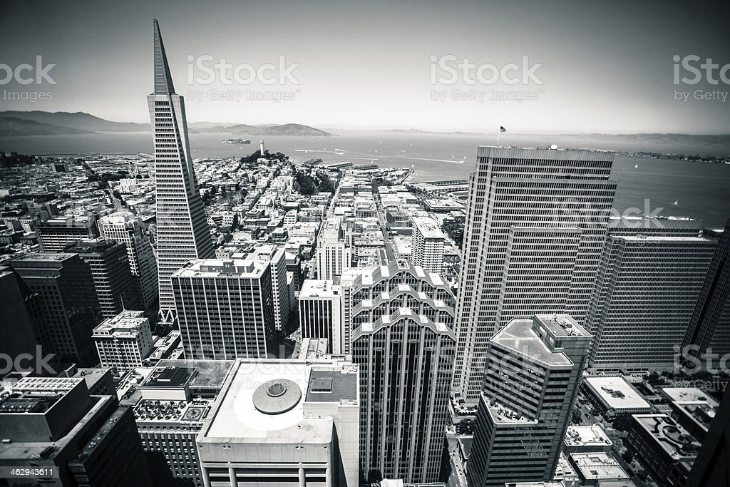 San Francisco Downtown Cityscape in Black and White, Aerial View stock photo