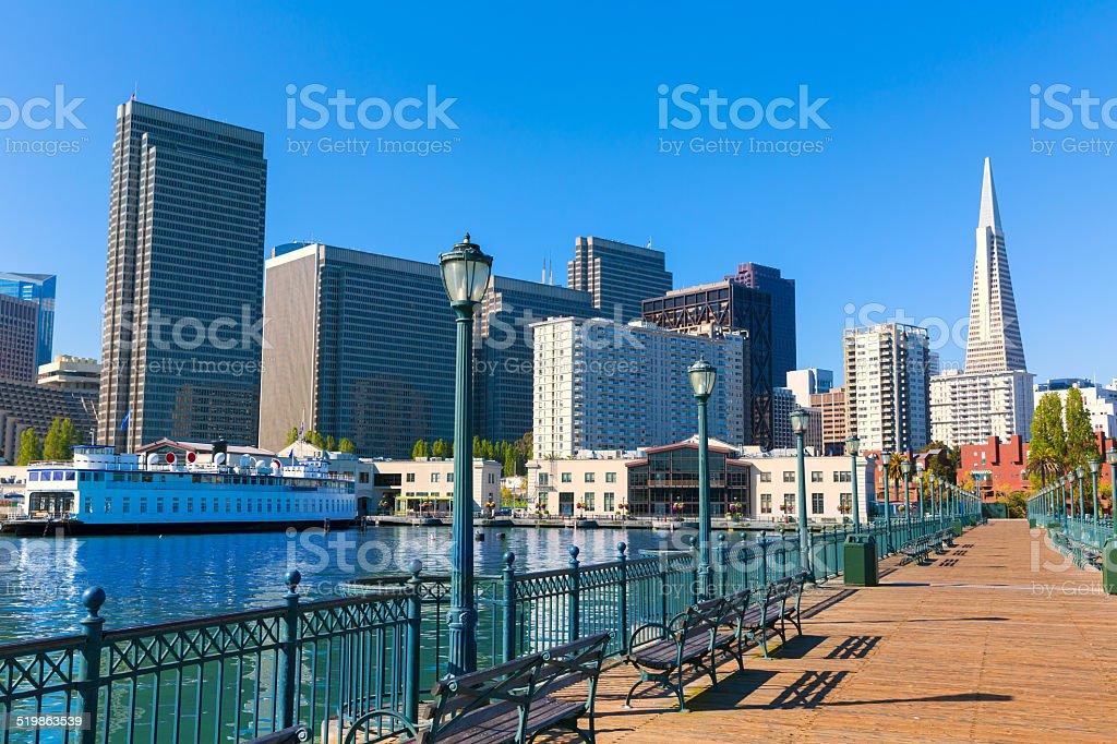 San Francisco downtown from pier 7 California stock photo