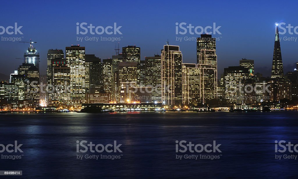 San Francisco Downtown in Christmas lights royalty-free stock photo