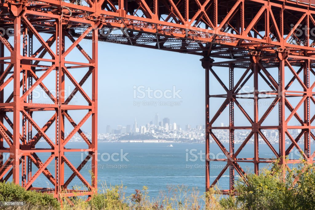 San Francisco Downtown in Hazy Summer Framed by the Golden Gate Bridge stock photo
