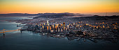 San Francisco Downtown Skyline Aerial View at Sunset, California, CA