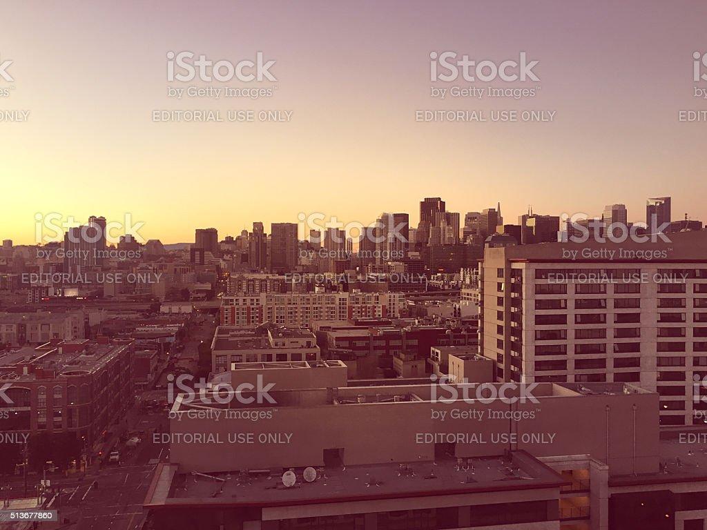 San Francisco Downtown Skyline at Sunset stock photo