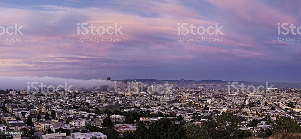 San Francisco downtown skyline beautiful pink twilight city panorama California royalty-free stock photo
