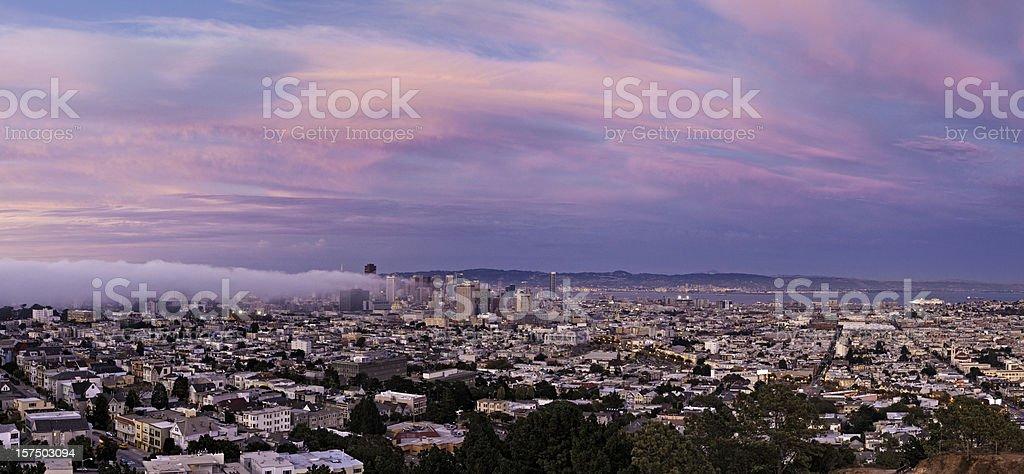 San Francisco downtown skyline beautiful pink twilight city panorama California stock photo
