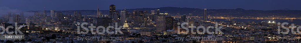 San Francisco downtown skyline cityscape night illuminated panorma California royalty-free stock photo