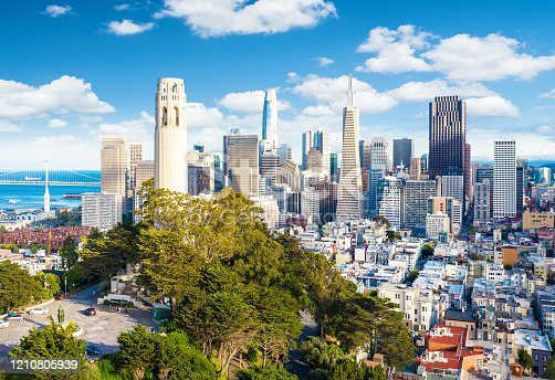 San Francisco downtown with Coit Tower in foreground. California famous city SF. Travel destination USA