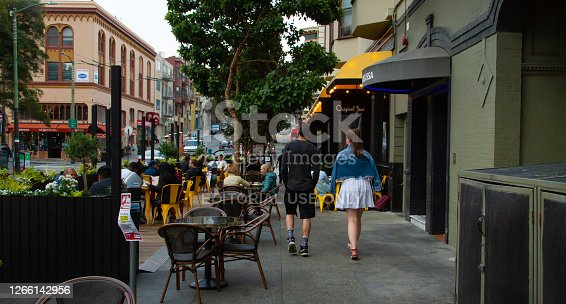 San Francisco, CA - August 10th, 2020: Local residents are enjoying outdoor dining in North Beach during Covid-19